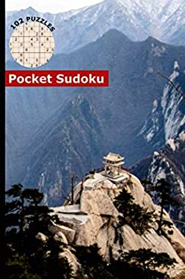 """Sudoku Pocket Size Travel Book: 102 Easy to Hard Puzzles with Numbers or Letters on Variation Grids, Cover - Xi'an Huashan Mountain, China (Mini Activity Games 4x6"""" Vol 4)"""