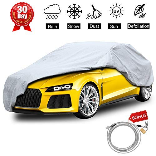 (KAKIT Car Cover Waterproof All Weather, 2 Layers UV Protection Universal Sedan Car Covers with Free Windproof Ribbon & Anti-Theft Lock for Full Size Sedan Cars Automobiles Fits 170