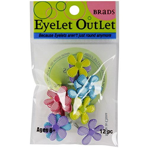 Eyelets Piece 12 (Eyelet Outlet Stitched Bright Flower Brads,12 pieces)