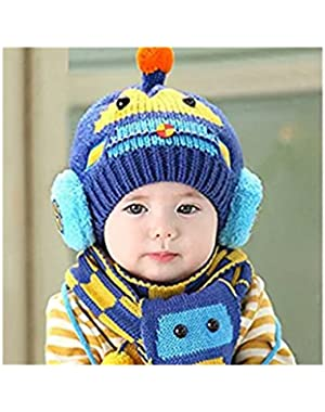 Winter Warm Boys Girls Wool Hat/Scarf Set Knitted Hat Scarf Blue Transformers