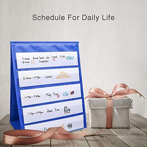13 Inches X 12 Inches Nrpfell Tabletop Desktop Pocket Chart Table Top with Bonus 20X Dry Erase Cards,Desktop Tabletop Teaching Pocket Chart Double Sided and Self-Standing
