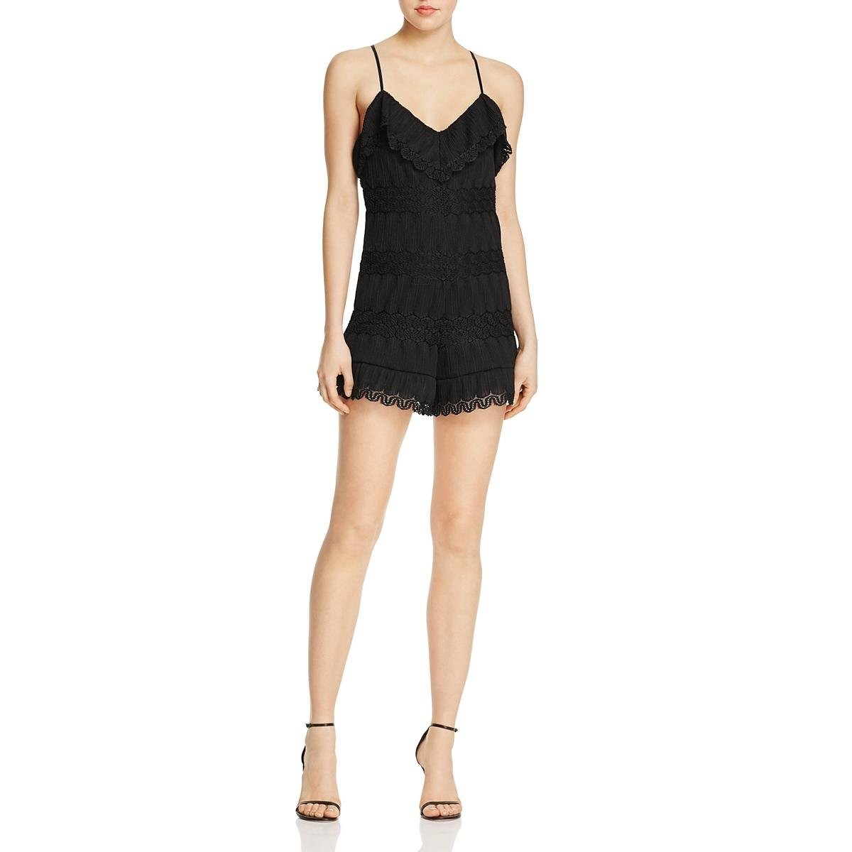 GUESS Women's Sleeveless Vita Ruffled Romper, Jet Black a, X-Small by GUESS (Image #1)
