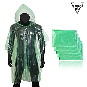 Forbidden Road Poncho Hood 5 Pack (One Size Fit All) Emergency Disposable Rain Poncho Cover Raincoat Lightweight Super Waterproof Camping Hiking Backpacking Traveling Fishing Outdoor