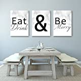 Eat Drink And Be Merry - Beautiful Kitchen Or Dining Decor Canvases - Set of 3 Canvases