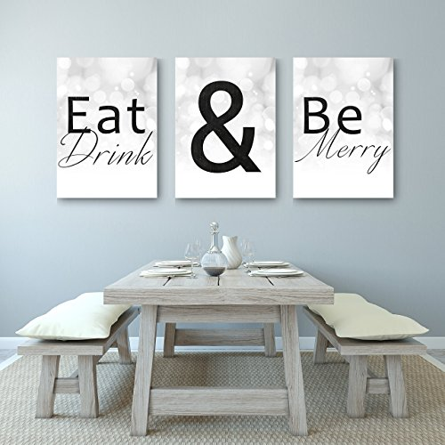 Eat Drink And Be Merry - Beautiful Kitchen Or Dining Decor Canvases - Set of 3 Canvases by anniversary-gifts