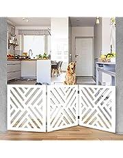 Indoor/Outdoor Solid Wood Freestanding Foldable Adjustable 3-Section Pet Gate