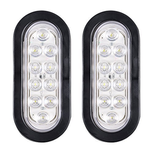 Bright White 6000K Oval 10 LED Clear Lens Backup Reverse Fog Light Bulb Grommet Plug Car Truck Trailer RV UTE UTV Boat Vans (2 (Clear Truck)