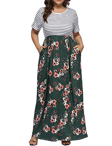 Patchwork Green Plus Striped Allegrace Sleeve Print a Dresses Dress Long Floral Size Short Maxi Women's w5RqXOxY