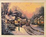 Village Christmas THOMAS KINKADE Wood Mounted Red Rubber Stamp by Cornish Heritage Farms