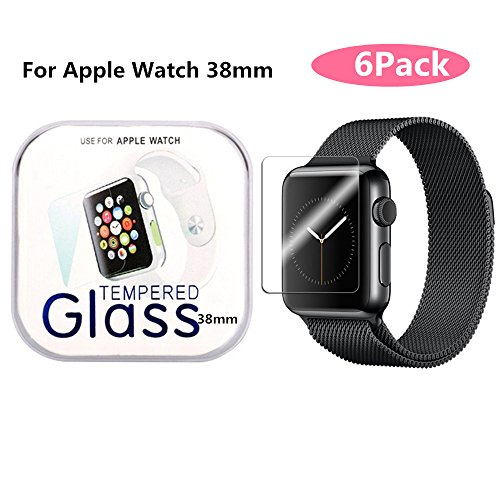 AOSOK Apple Watch 38mm (Series 1 & Series 2 Updated) Screen Protector, [6Pack] [9H Hardness][Anti-Scratch] [Bubble Free] High Definition Tempered Glass Screen Protector for Apple Watch 38mm (6Pack)