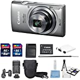 Canon Powershot ELPH 160 IS 20.0MP (Silver) With USA Warranty + Total of 24 GB SDHC Class 10 & AC/DC Turbo Travel Charger + Extra Battery (NB-11L) + Mini Tripod Along With a Deluxe Cleaning Kit