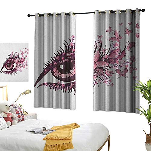 x L63 Butterflies,Fairy Female Eye with Butterflies Eyelashes Mascara Stare Party Makeup, Pale Pink Purple Living Dining Room Curtain 2 Panels Set ()