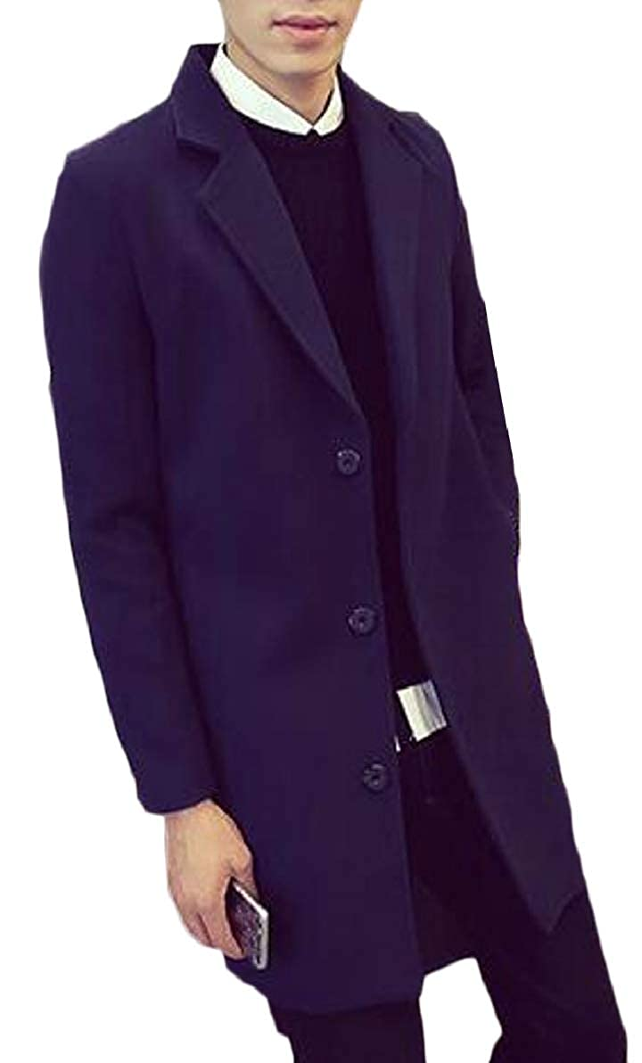 ONTBYB Men's Winter Notched Collar Slim Single Breasted Wool Blend Trench Coat