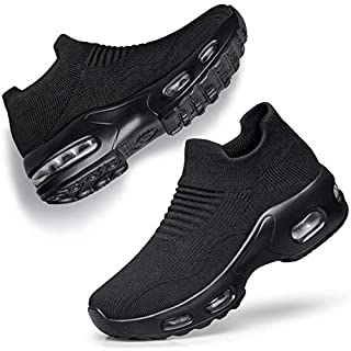 DOUSSPRT Womens Walking Shoes Slip on Sock Sneakers Lady Girls Nurse Mesh Air Cushion Platform Loafers Fashion Casual Black US Size 9 9.5