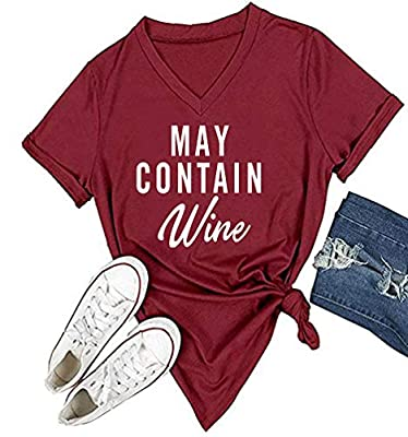 YEVEEY Funny T-Shirt Women's V-Neck Letter Print Casual Tee Short Sleeve Tops
