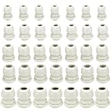 XLX 35PCS Cable Gland Waterproof Cable Fixing Head Suitable for 3mm-13mm PG7, PG9, PG11, PG13.5, PG16 Cable Gland Joints Assortment Set (White)
