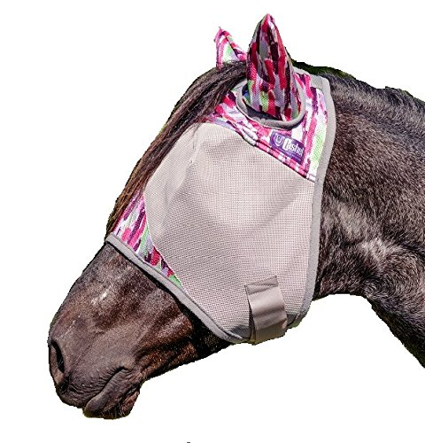 Cashel Designer Fly Mask With Ears - Style: Pink Watercolor Size: - Pink Mask Fly Cashel