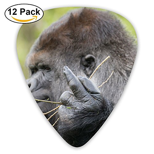 HaSaKa The Monkey Stretched Out Its Middle Finger Guitar Pick 0.46mm 0.73mm 0.96mm 12pack,Suitable For All Kinds Of Guitars]()
