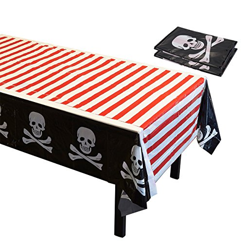 Pirate Theme Party Tablecloths - 3 Pack Skulls Crossbones Disposable Plastic Rectangular Table Covers for Kid Birthday Decorations and Party Supplies in Red, White, Black, 54 x 108 -