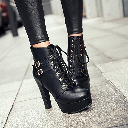 Carolbar Vrouwen Lace Up Gesp Platform Sexy Hoge Hak Korte Jurk Laarzen Zwart