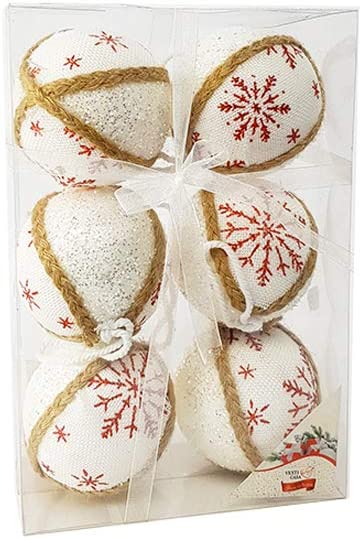 GENERAL TRADE 6 Sfera Natalizia Bianco con Fiocchi di Neve Shabby Chic Stile provenzale Palle per Albero 80mm Decorazioni Ornamento Albero di Natale Ghirlanda Natalizia Idea Regalo Natale