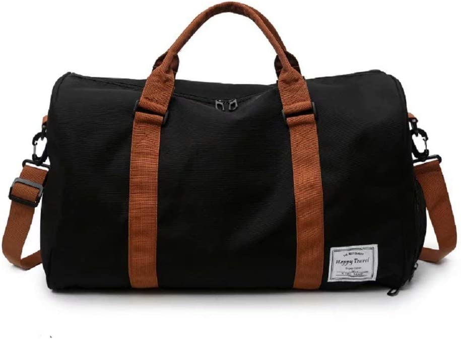 Raku Travel Duffel Express Weekender Bag Carry On Luggage with Shoe Pouch Black.