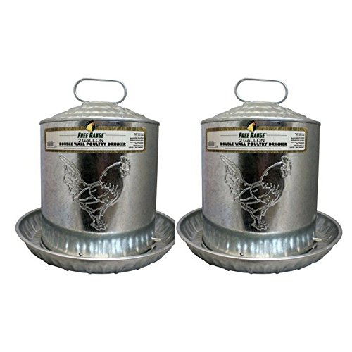 Harris Farms LLC Pet Double Metal Wall Chick Water Fountain, 2-Gal - 2 Pack by Harris Farms