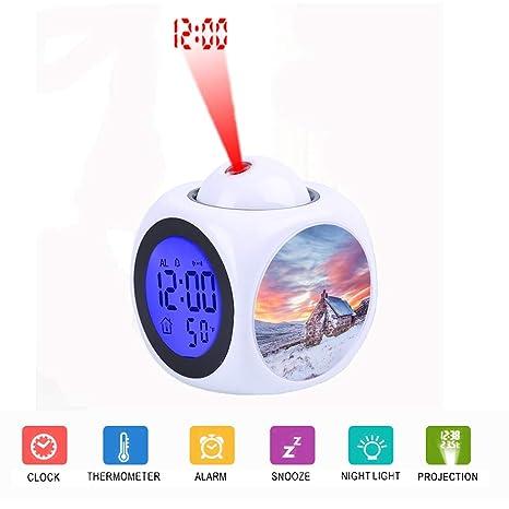 FDC Despertador LCD Digital con proyección LED en ...