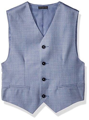 (Calvin Klein Big Boys' Sharkskin Suit Vest, Medium Blue, Large(14/16))