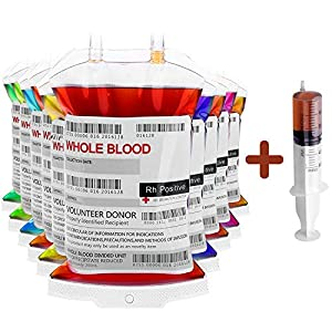 Halloween Blood Bags Drink Container (10 Bags) with Syringe | Halloween Party Cups, Doctor Nursing/RN Graduation Vampire Zombie Theme Party Favor Supplies - Blood Bag Drink Container Set of 10 IV Bags 11.5 Fl Oz