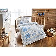DecoMood Sweet Farm Animals Themed 100% Organic Cotton Soft and Healthy Nursery Crib Bedding Duvet Cover Set for Baby Boys, 4 Pieces