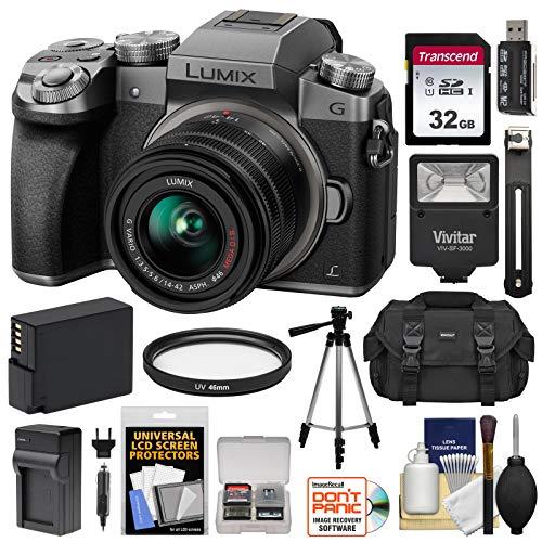 Panasonic Lumix DMC-G7 4K Wi-Fi Digital Camera & 14-42mm Lens (Silver) with 32GB Card + Battery + Charger + Case + Flash + Tripod + Kit