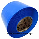REVO Preservation Tape / Heat Shrink Wrap Tape (4'' x 60 yards) MADE IN USA (BLUE) Poly Tape - Electrical Tape - Boat Storage Tape (PINKED EDGE) SINGLE ROLL (ECONOMY: 7.5 MIL THICKNESS)