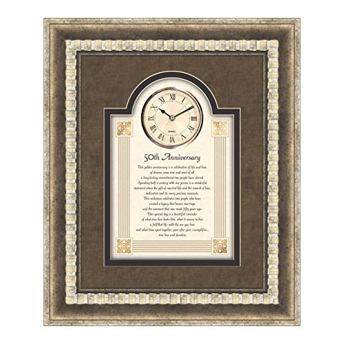 50th Anniversary Clocks - CB Gift Heartfelt Collection-Large 3D Wall Clock 15 x 18-Inches 50th Anniversary