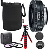 Canon EF-S 24mm f/2.8 STM Lens, Camera Lens, 12'' Flexible Tripod, Ritz Gear Small Protective Pouch and Accessory Bundle