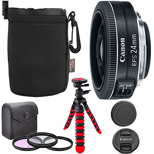 Canon EF-S 24mm f/2.8 STM Lens, Camera Lens, 12'' Flexible Tripod, Ritz Gear Small Protective Pouch and Accessory Bundle by Ritz Camera