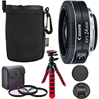 Canon EF-S 24mm f/2.8 STM Lens, Camera Lens Filter Kit, 12 Flexible Tripod, Ritz Gear Small Protective Pouch and Accessory Bundle