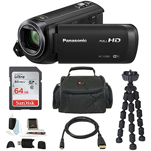 Panasonic HC-V380K Full HD 1080p Camcorder w/ 64GB SD Card & Accessory Bundle