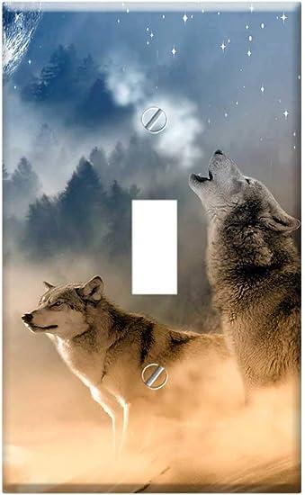 Switch Plate Single Toggle Wolves Wolf Howling Moon Stars Night Wild Amazon Com