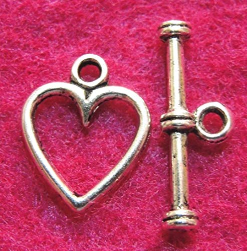 20Sets Tibetan Silver Heart Toggle Clasps Connectors Hooks Jewelry Findings Charms DIY Crafting by WCS