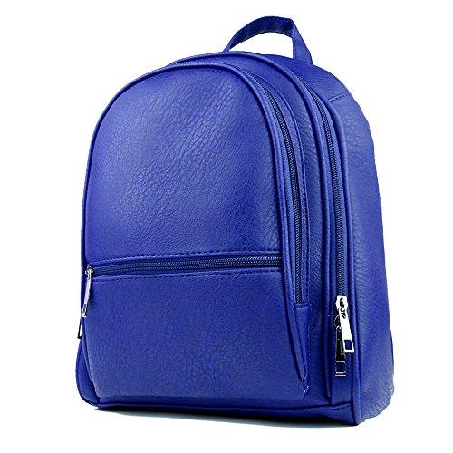 Soft PU Leather Travel bag Laptop Backpack School Rucksack(Blue) - 3