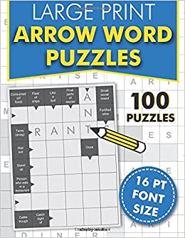 large print arrow word puzzles 100 crossword style puzzles in 16pt font size amazoncouk clarity media 9781544121598 books
