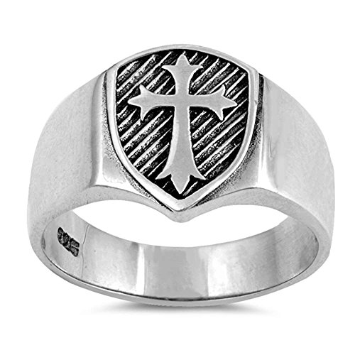 Sterling Silver Men's Solid Medieval Shield Cross Band Ring Sizes (Medieval Mens Ring)