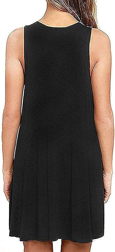 ZIOOER Women Summer Casual T Shirt Dresses Beach Cover up Pleated Sleeveless Tank Dress