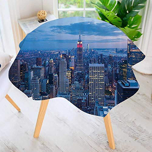 Round Tablecloth Polyester-erial Night of NYC with Dusk Sky Cloudy Sunin City shi Capital Great for Buffet Table, Parties, Holiday Dinner & More 35.5