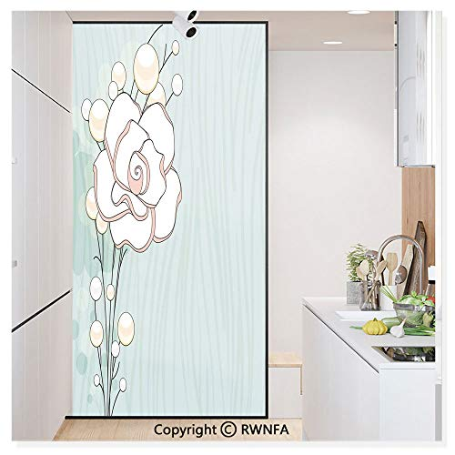 Window Privacy Film UV Blocking 11.8x59.8,Romantic Rose Sign of Eternal Love with Pearls The Purity Icon Print 3D Static Self Adhesive Glass Stickers for Home & Office,Baby Blue White and Pink from RWN Film