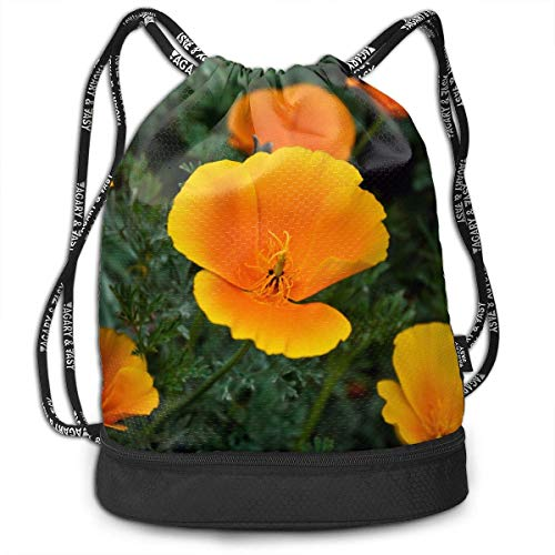 Sport Drawstring Backpack Sport Gym Bag Beatybag,Golden State Poppies Gym Sack Drawstring Shoulder Printing Gymsack Unisex Bundle backpack ()