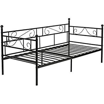 greenforest twin size daybed couch bed framesteel slats platform strong supportbox spring bed frame twin with assembly for - Mattress Frame