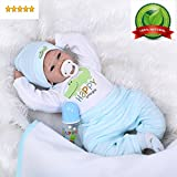 "reborn Baby Doll Boy Real Looking Silicone Vinyl 22"" Weighted Body Realistic Light Blue Outfit cute doll Gift Set for Ages 3+"