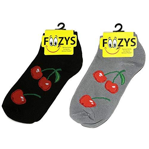 Pair 2 Cherry - Foozys Women's Low Cut No Show Socks   Delicious Cherries Fruit Socks   2 Pair